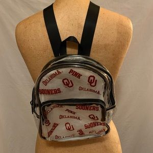 PINK Oklahoma Sooners clear Backpack NWT